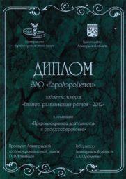 Диплом победителю конкурса «Бизнес, развивающий регион 2012»